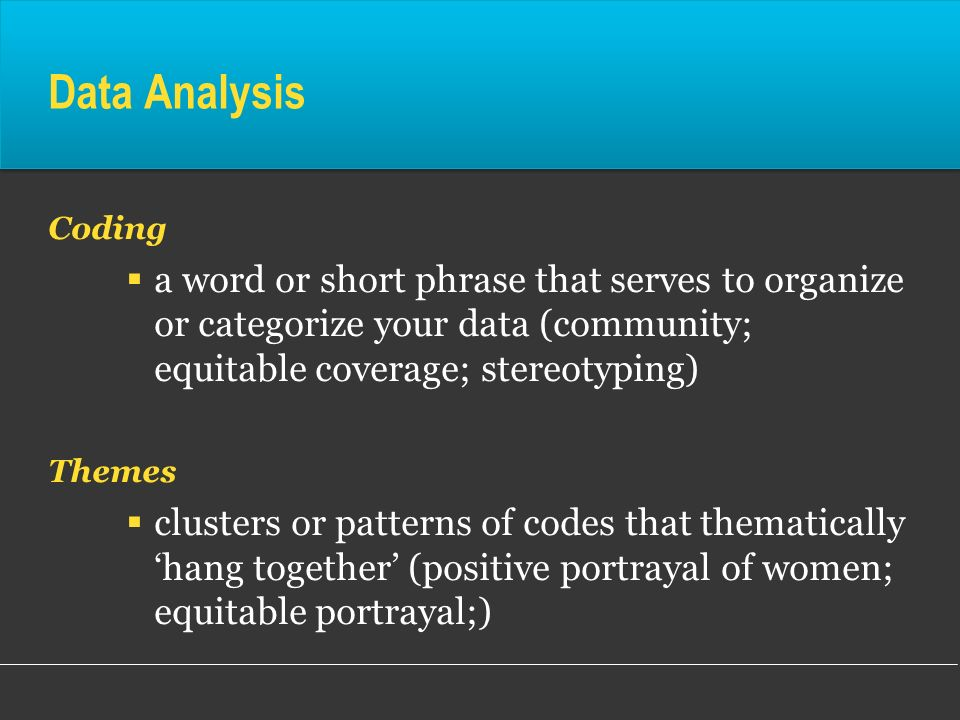 Data AnalysisCoding. a word or short phrase that serves to organize or categorize your data (community; equitable coverage; stereotyping)