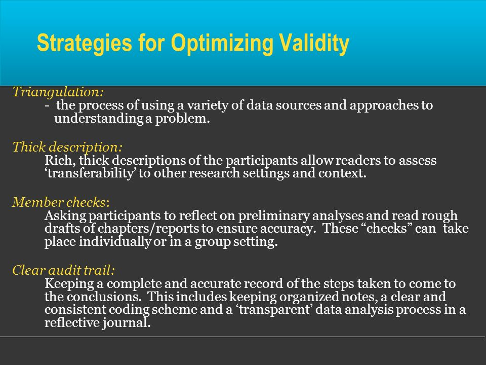 Strategies for Optimizing Validity