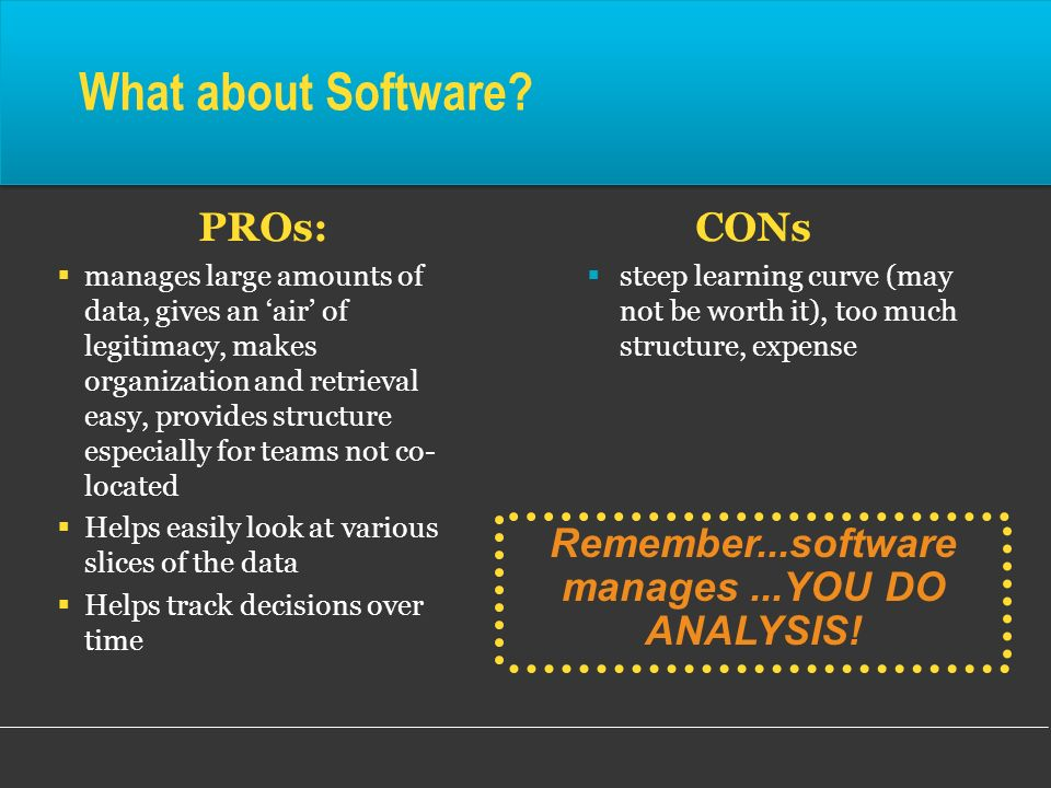 Remember...software manages ...YOU DO ANALYSIS!