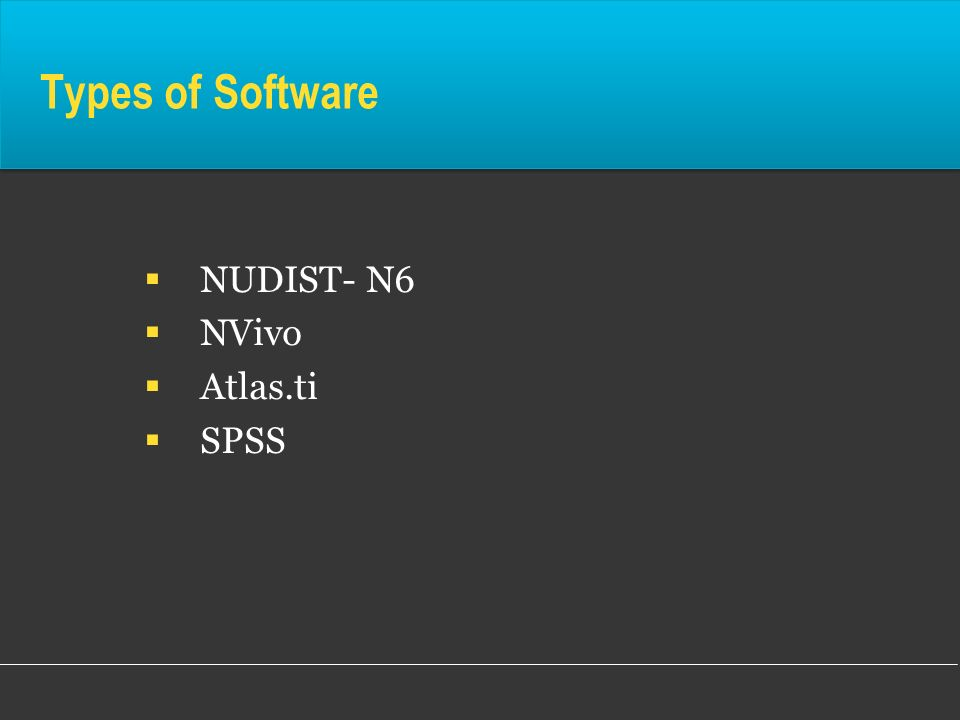 Types of Software NUDIST- N6 NVivo Atlas.ti SPSS