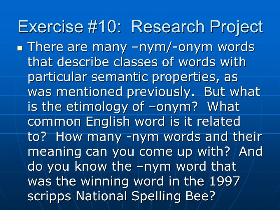 Exercise #10: Research Project