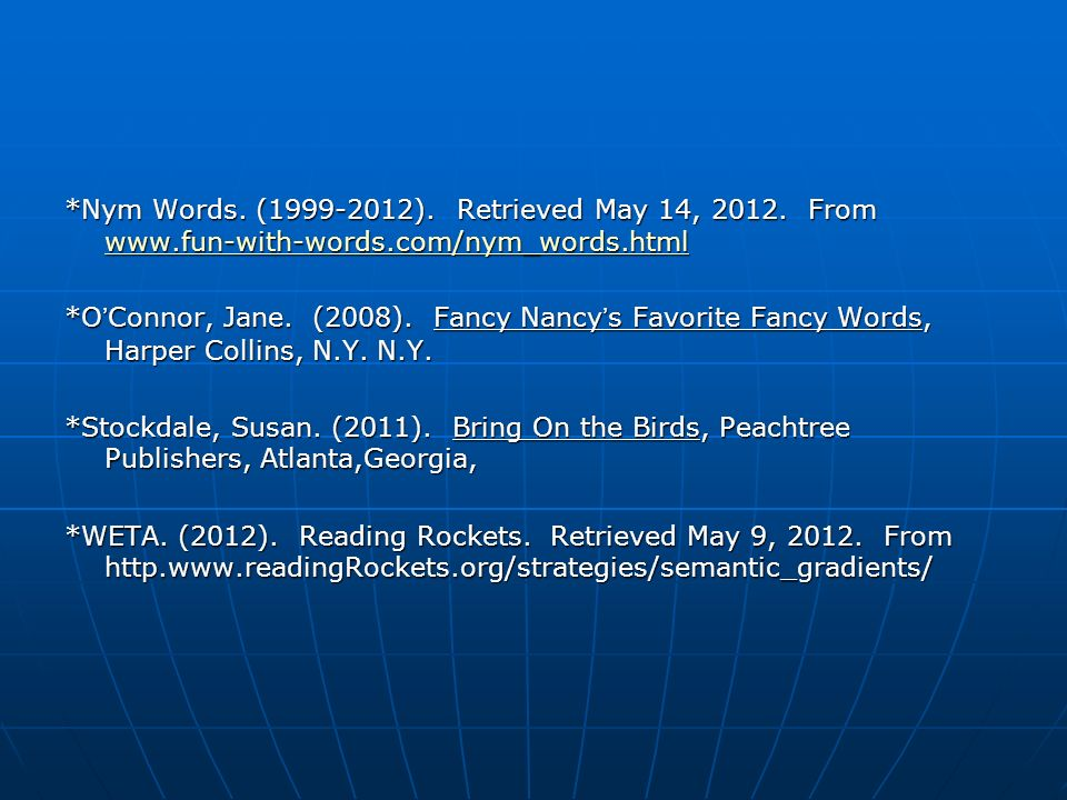 Nym Words. (1999-2012). Retrieved May 14, 2012. From www