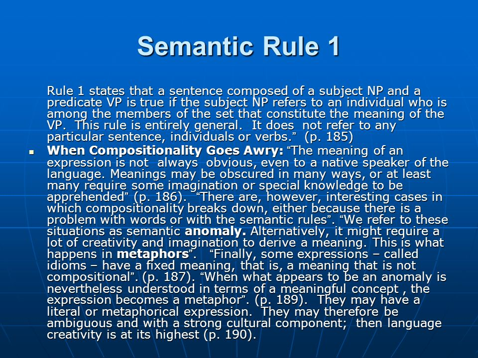 Semantic Rule 1