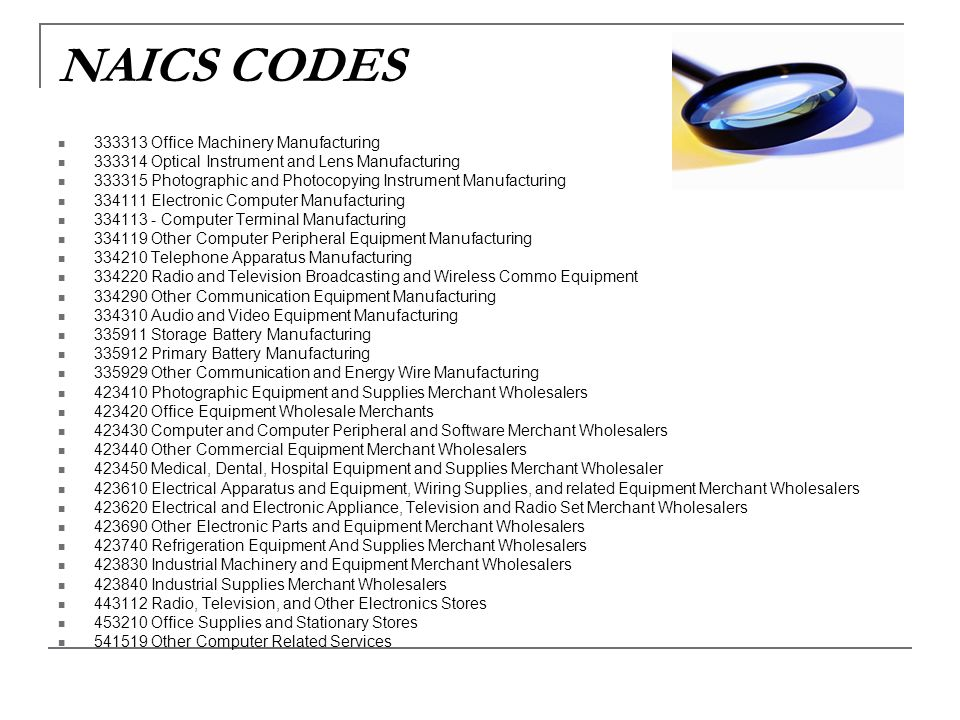NAICS CODES Office Machinery Manufacturing