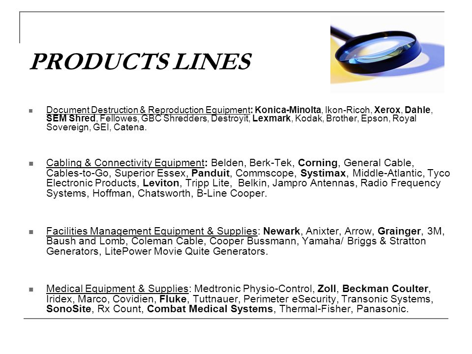 PRODUCTS LINES