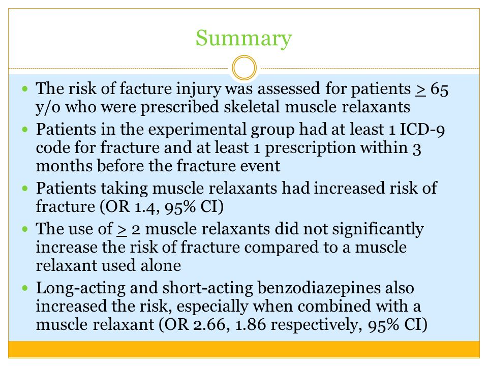 SummaryThe risk of facture injury was assessed for patients > 65 y/o who were prescribed skeletal muscle relaxants.