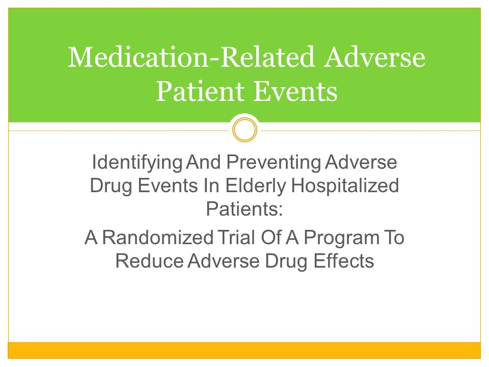 Medication-Related Adverse Patient Events