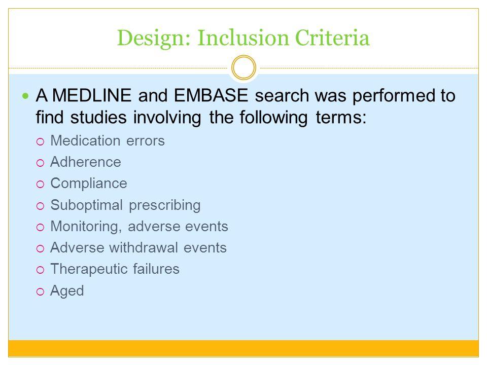 Design: Inclusion Criteria