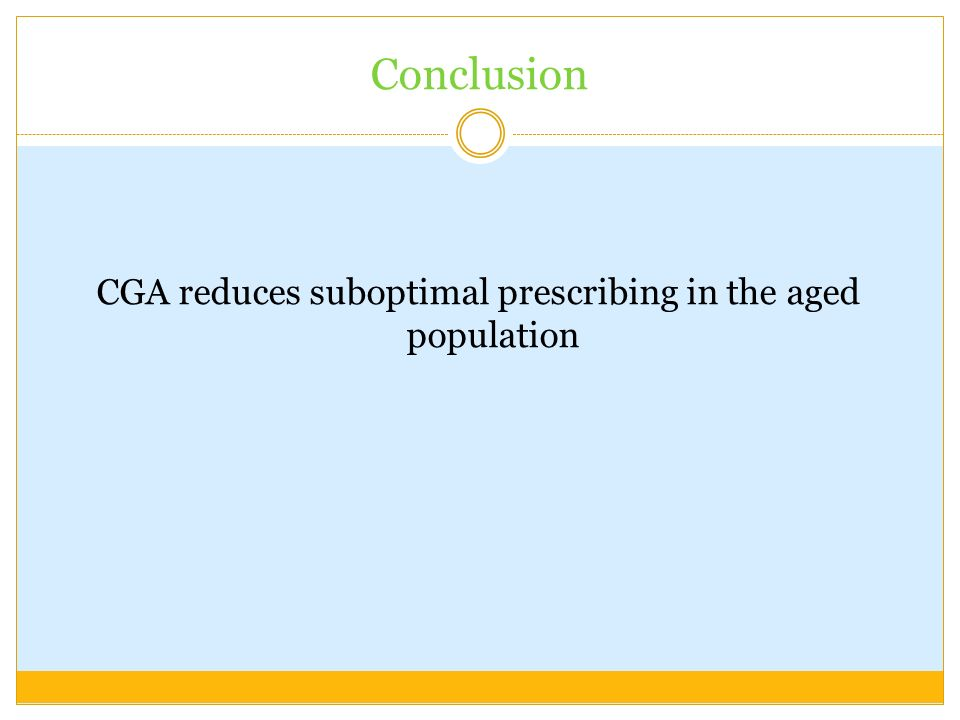 CGA reduces suboptimal prescribing in the aged population