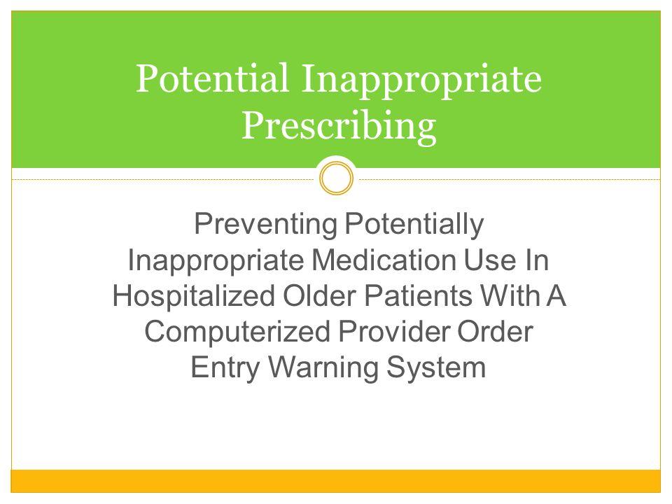 Potential Inappropriate Prescribing
