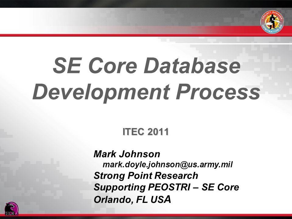 SE Core Database Development Process
