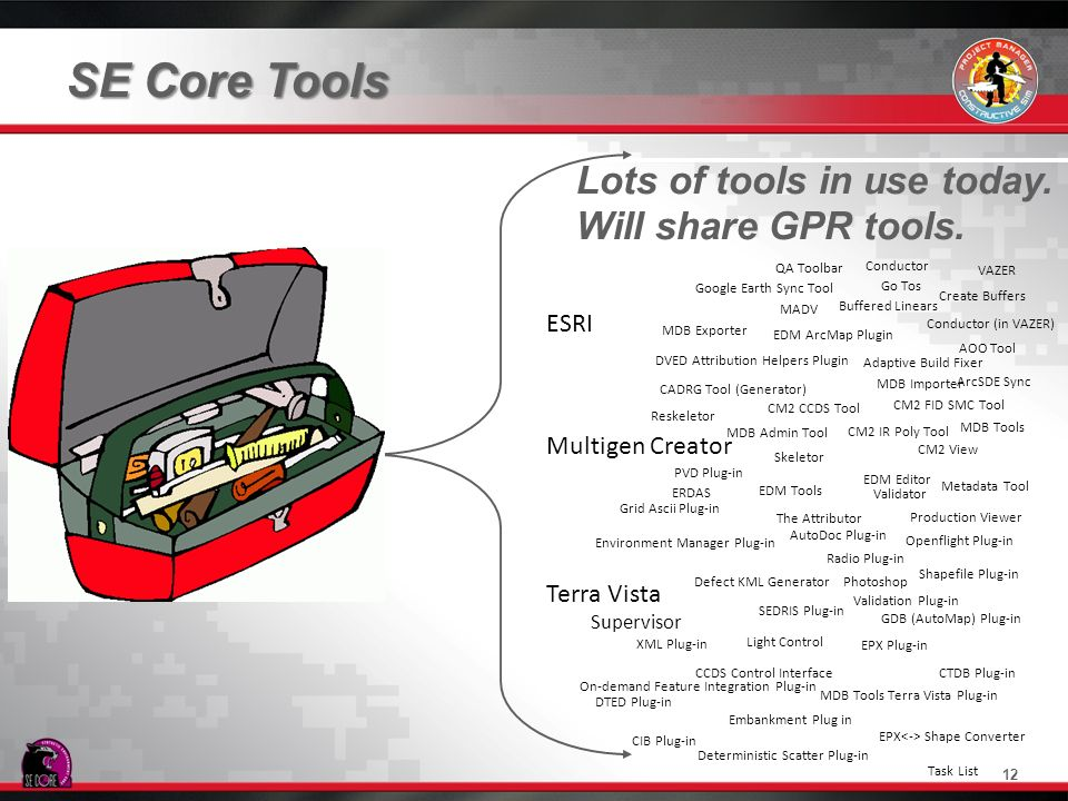 SE Core Tools Lots of tools in use today. Will share GPR tools. ESRI