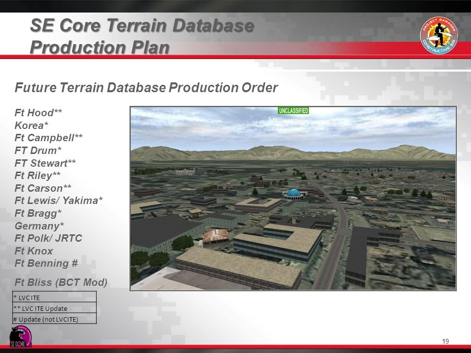 SE Core Terrain Database Production Plan