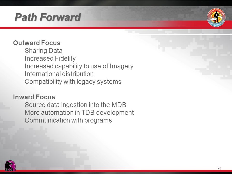 Path Forward Outward Focus Sharing Data Increased Fidelity