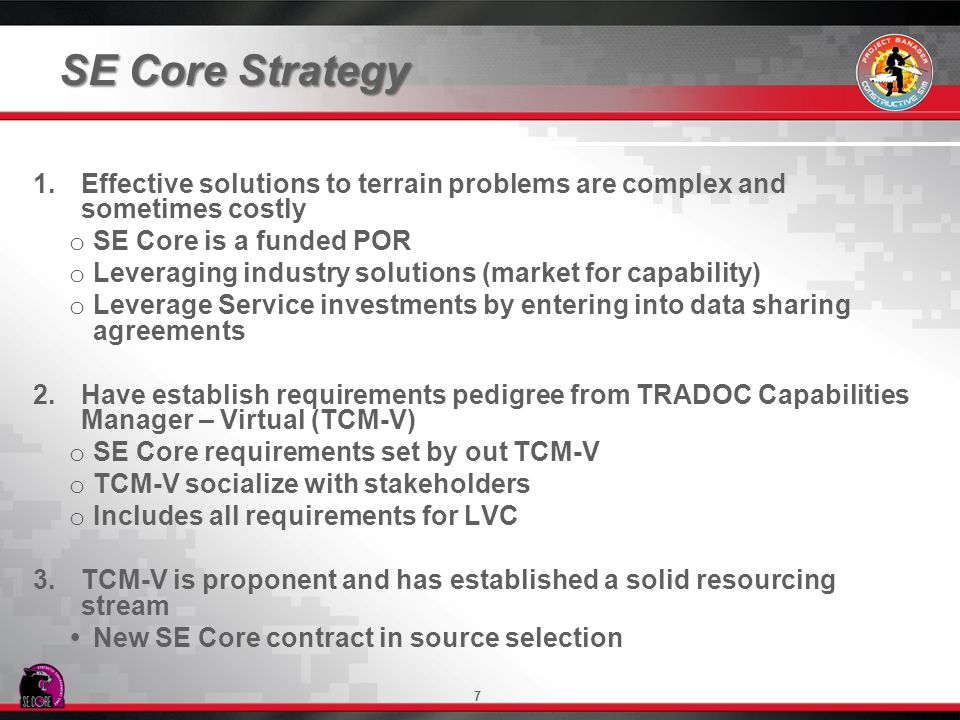 SE Core Strategy Effective solutions to terrain problems are complex and sometimes costly. SE Core is a funded POR.