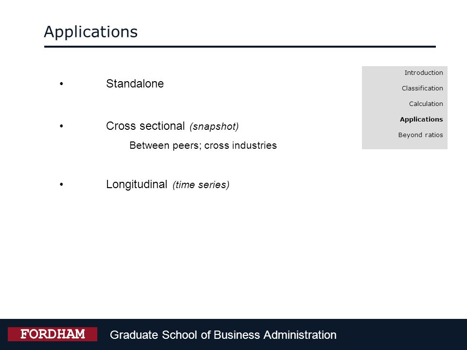 Applications FORDHAM Standalone Cross sectional (snapshot)