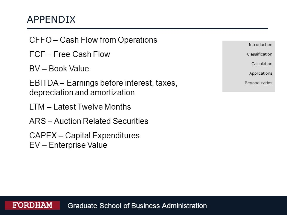 APPENDIX FORDHAM CFFO – Cash Flow from Operations FCF – Free Cash Flow