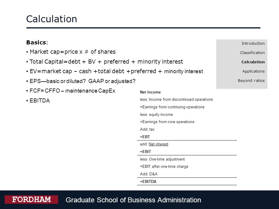 Calculation FORDHAM Graduate School of Business Administration Basics: