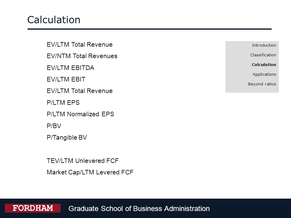 Calculation FORDHAM Graduate School of Business Administration