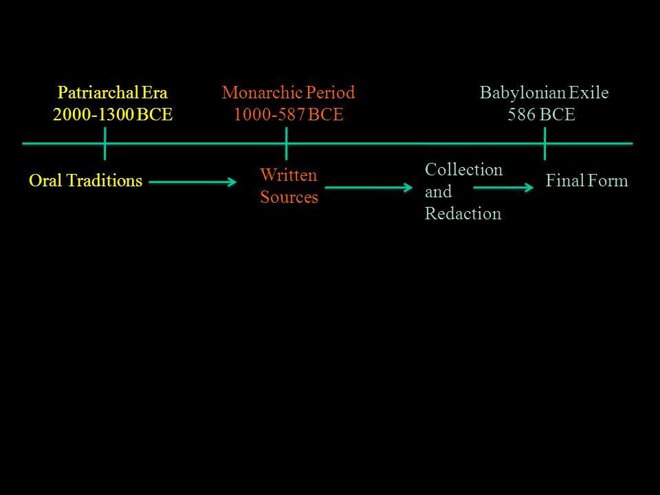 Patriarchal Era 2000-1300 BCE Monarchic Period 1000-587 BCE