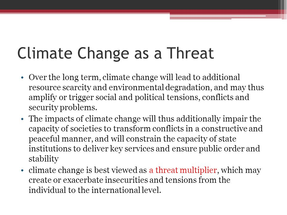 Climate Change as a Threat