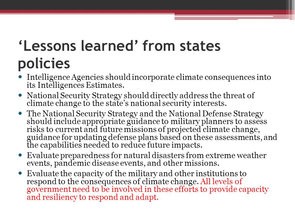 'Lessons learned' from states policies