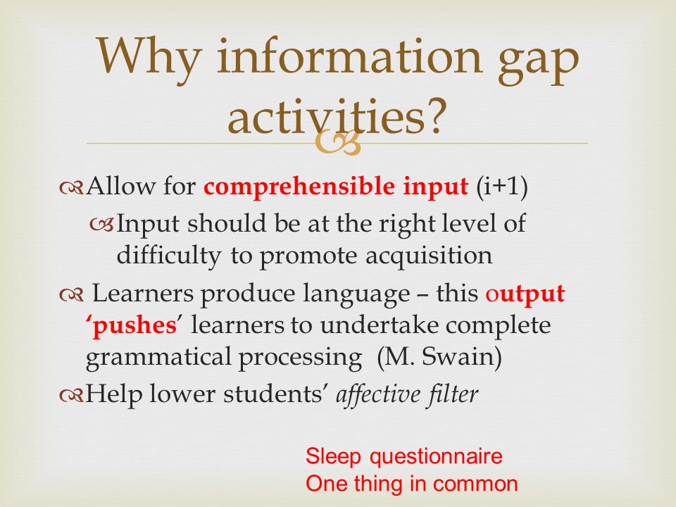 Why information gap activities