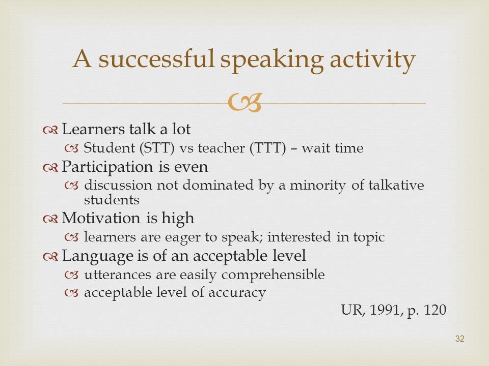 A successful speaking activity