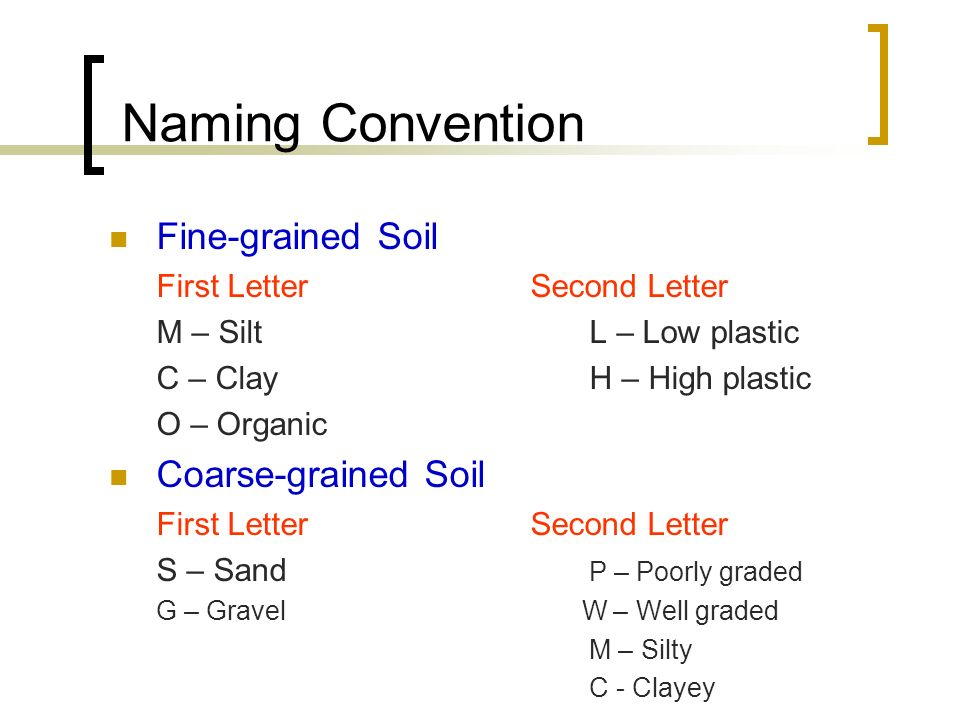 Naming Convention Fine-grained Soil Coarse-grained Soil