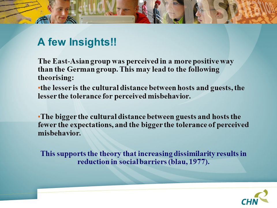 A few Insights!! The East-Asian group was perceived in a more positive way than the German group. This may lead to the following theorising:
