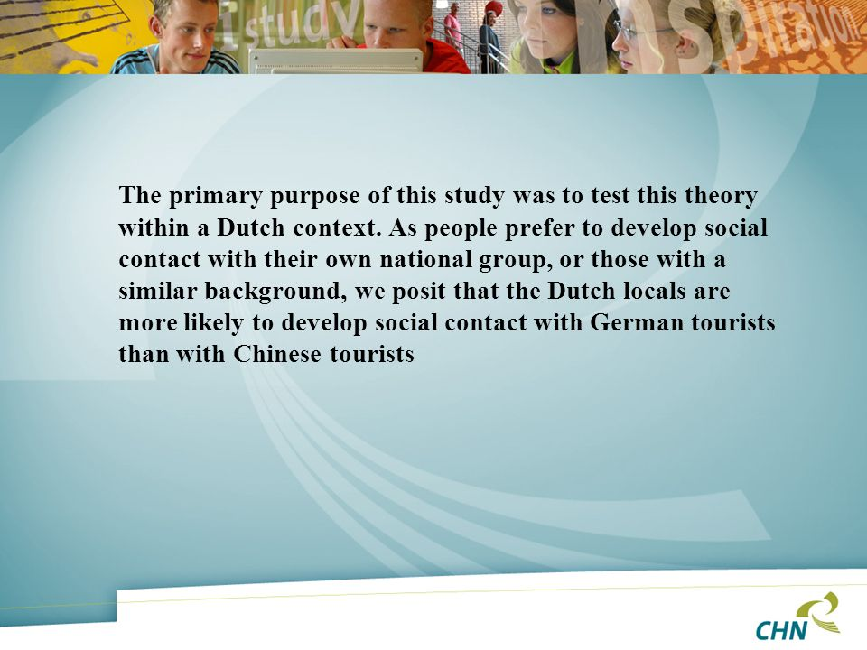 The primary purpose of this study was to test this theory within a Dutch context.