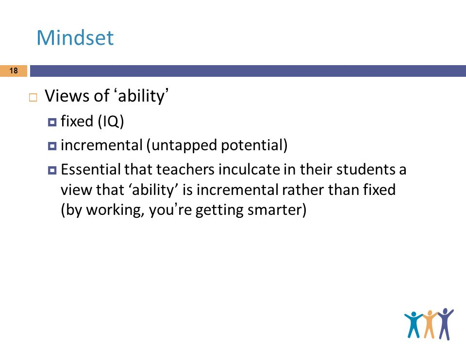 Mindset Views of 'ability' fixed (IQ) incremental (untapped potential)