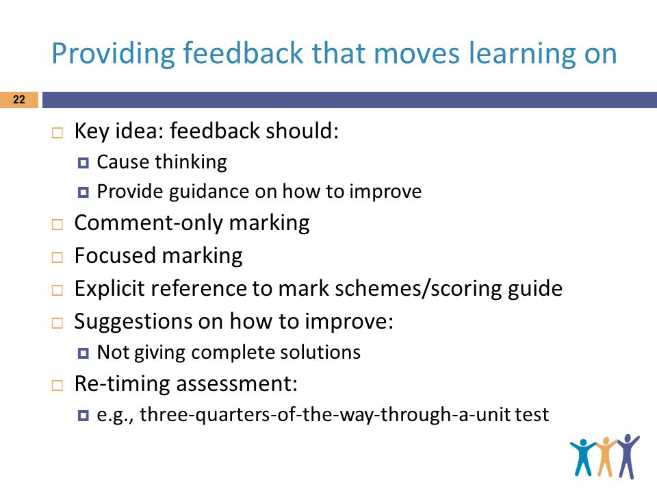Providing feedback that moves learning on