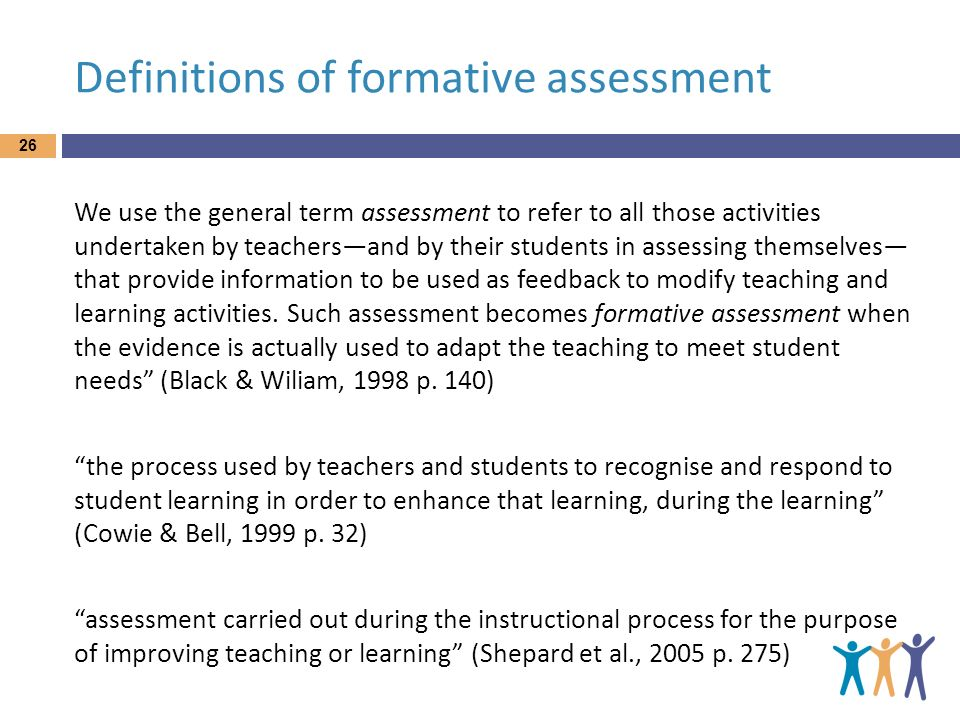 Definitions of formative assessment