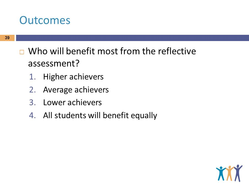 Outcomes Who will benefit most from the reflective assessment