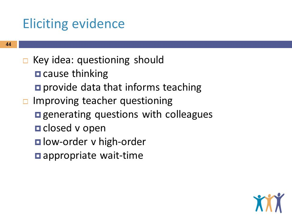 Eliciting evidence Key idea: questioning should cause thinking