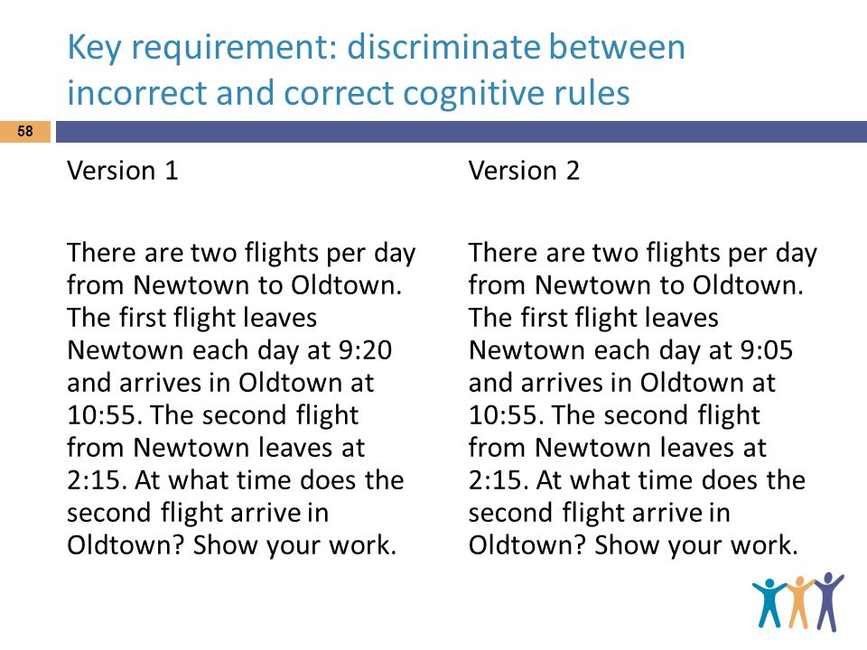 Key requirement: discriminate between incorrect and correct cognitive rules