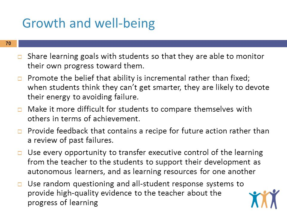 Growth and well-being Share learning goals with students so that they are able to monitor their own progress toward them.
