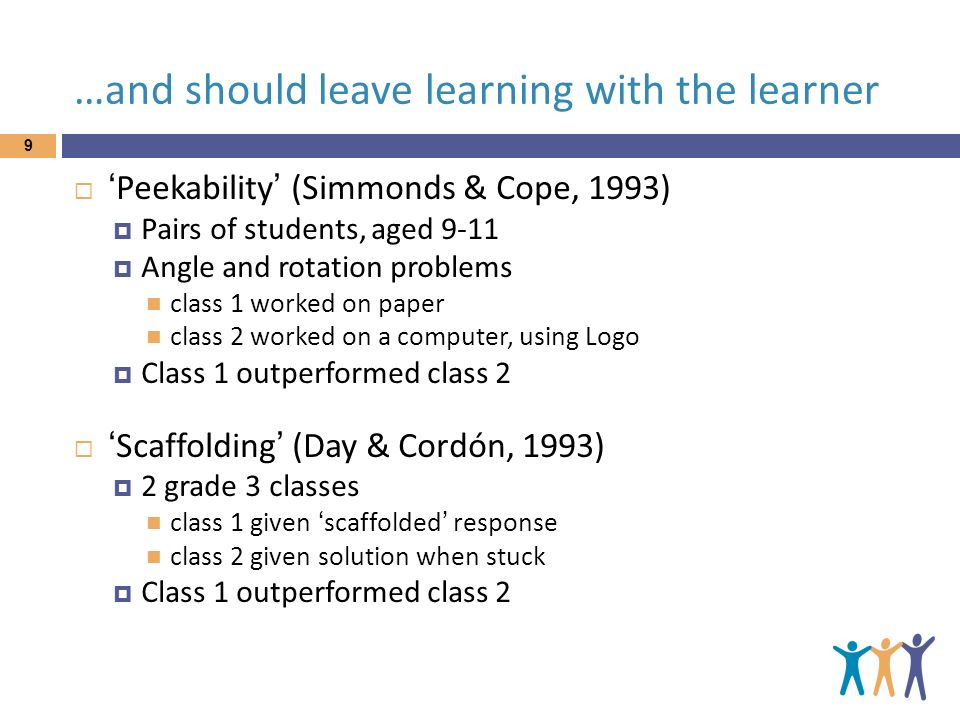 …and should leave learning with the learner