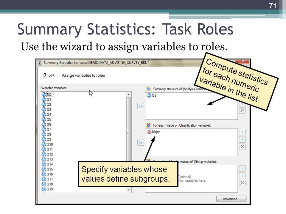 Summary Statistics: Task Roles