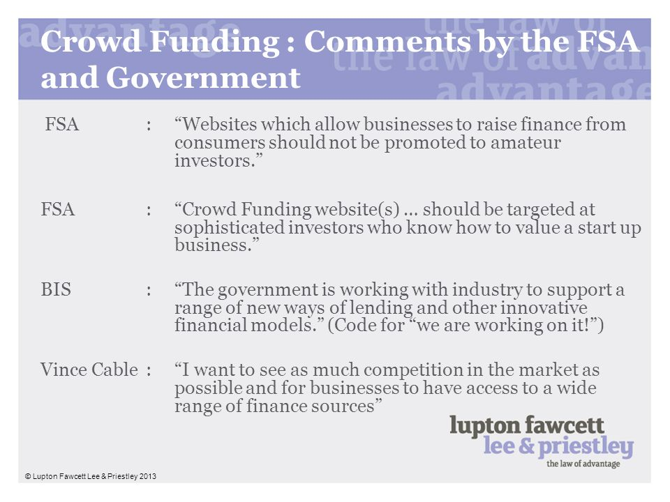 Crowd Funding : Comments by the FSA and Government