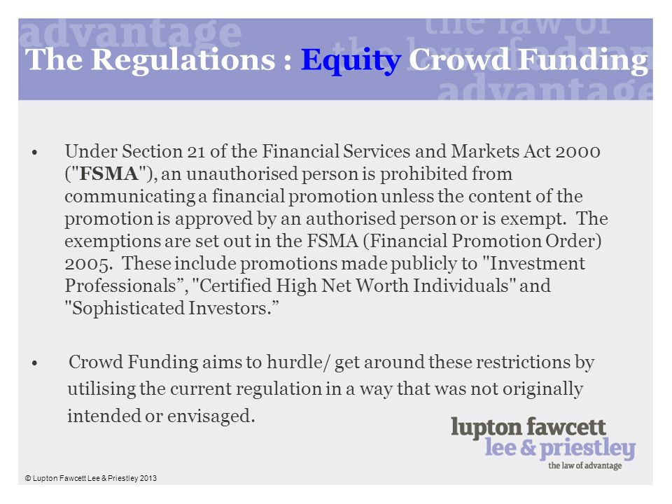 The Regulations : Equity Crowd Funding