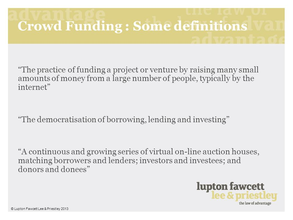 Crowd Funding : Some definitions
