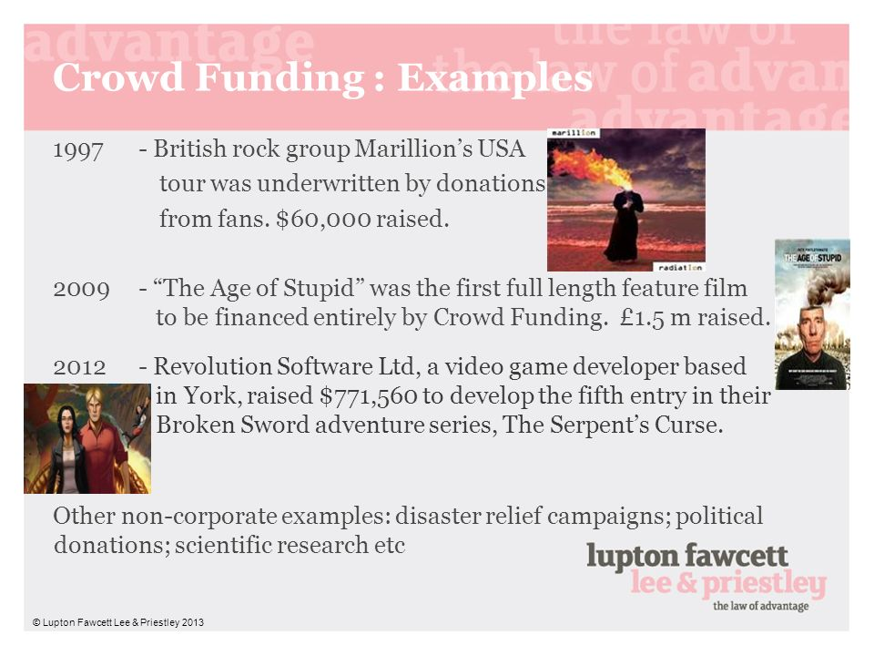 Crowd Funding : Examples