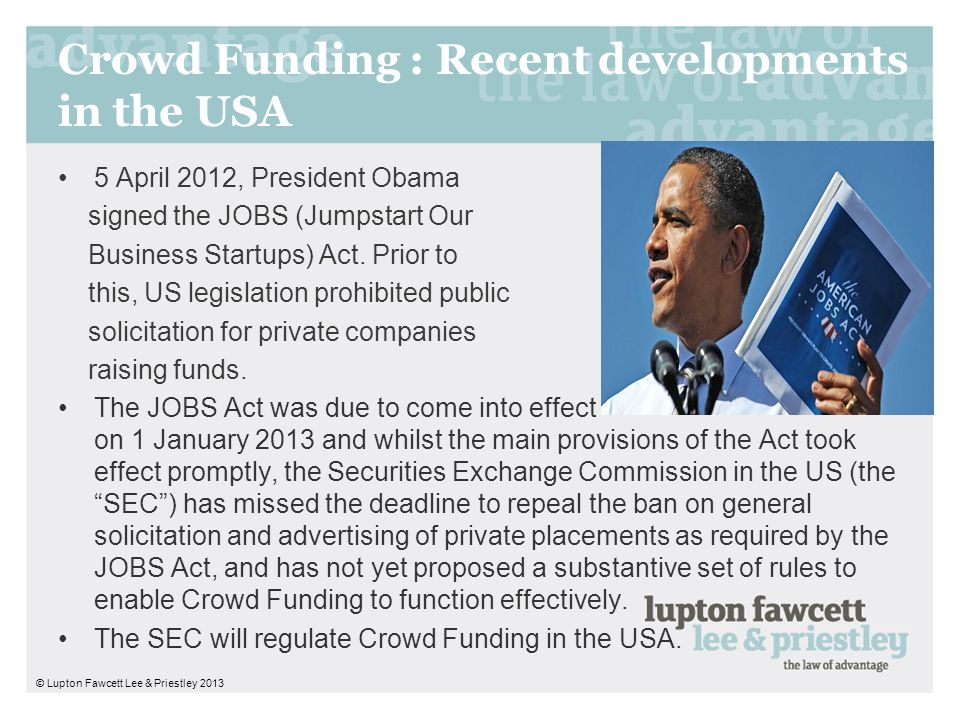 Crowd Funding : Recent developments in the USA
