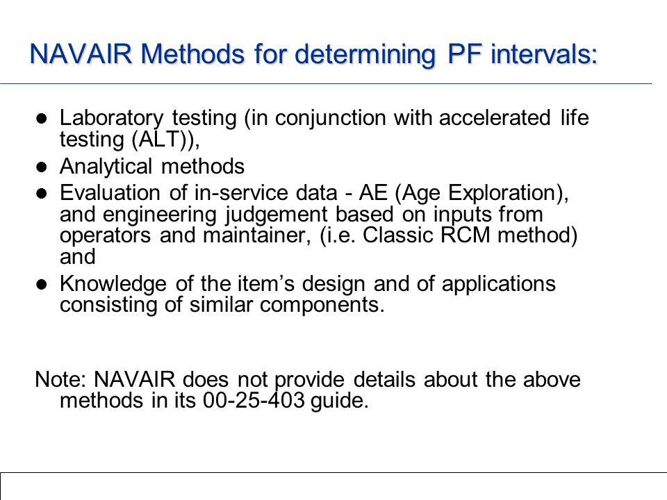 NAVAIR Methods for determining PF intervals: