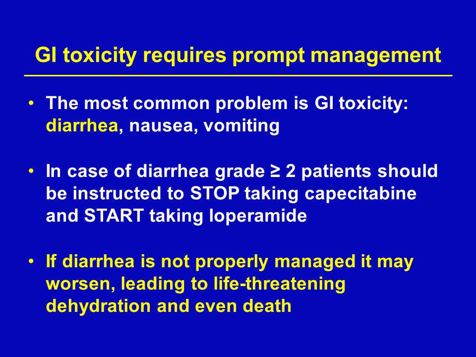 GI toxicity requires prompt management