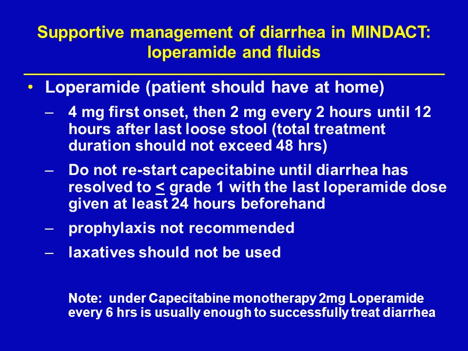 Supportive management of diarrhea in MINDACT: loperamide and fluids
