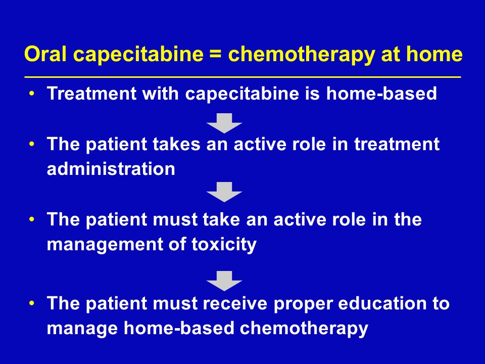 Oral capecitabine = chemotherapy at home