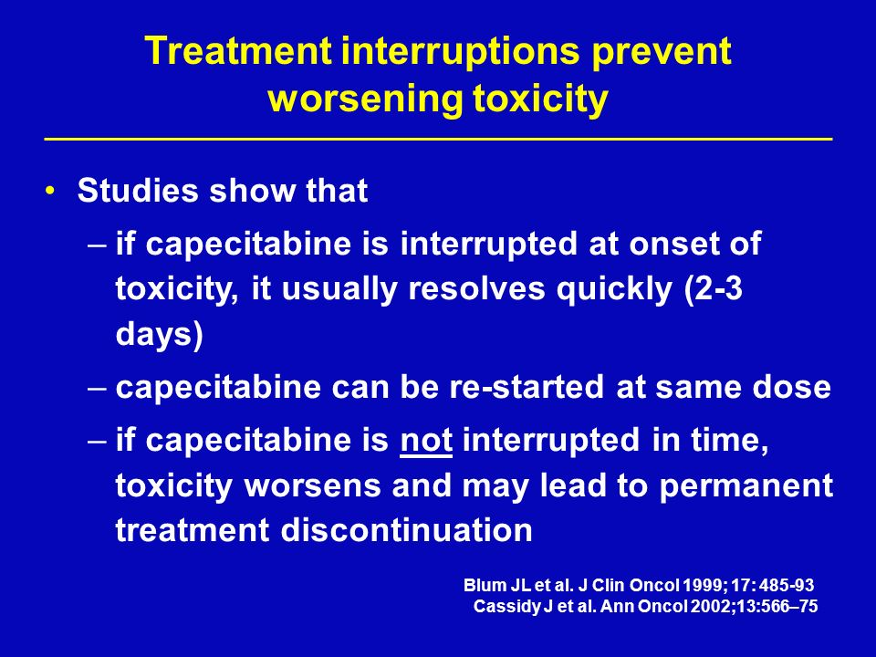 Treatment interruptions prevent worsening toxicity